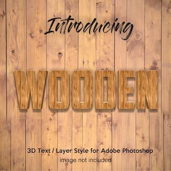 Planche de bois 3d bois effets de texte de style de couche photoshop texturé