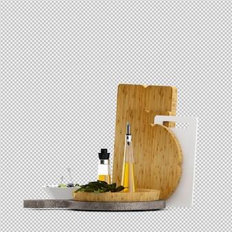 Planche à découper en bois isométrique