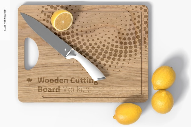 Planche à découper en bois avec maquette de citrons