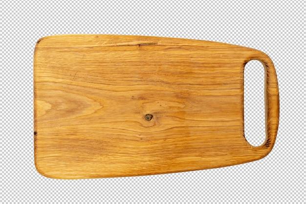 Planche à découper en chêne sur fond blanc.