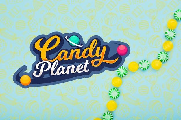 Planète de bonbons avec de délicieux bonbons verts et jaunes