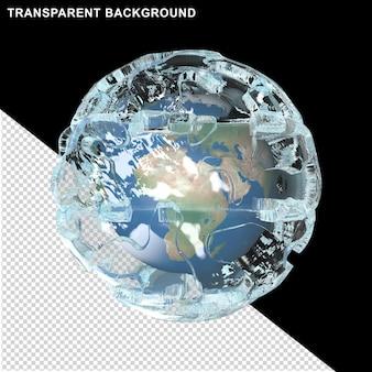 Planète terre dans un cube de glaceplanète terre dans une boule de glace