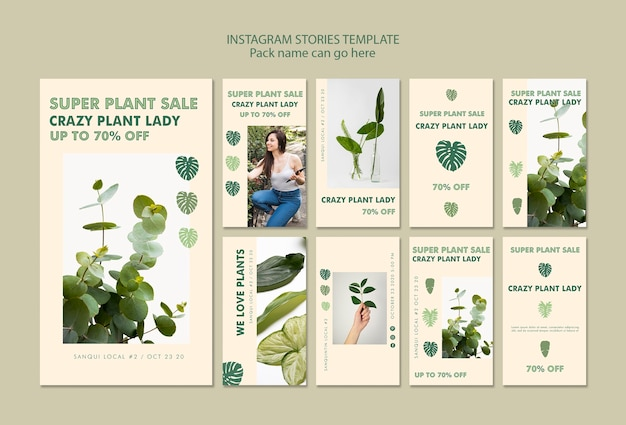 Plant lady concept instagram stories