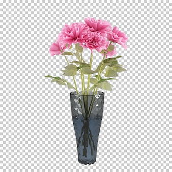 Plante isométrique en pot rendu 3d