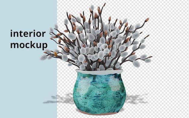Plantes en pot maquette en redering 3d