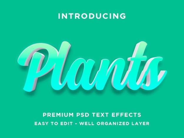 Plantes, styles d'effets de texte modifiables psd