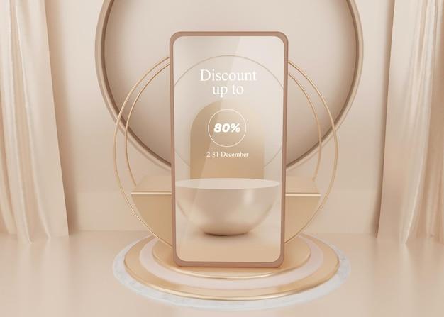 Plate-forme surréaliste de rendu 3d avec pastel d'affichage de maquette de téléphone portable