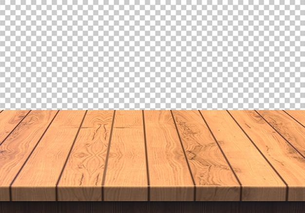 Plateau en bois isolé sur fond transparent