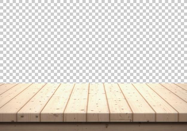 Plateau en bois isolé sur transparent