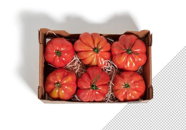Plateau de tomates fraîches, maquette, vue de dessus