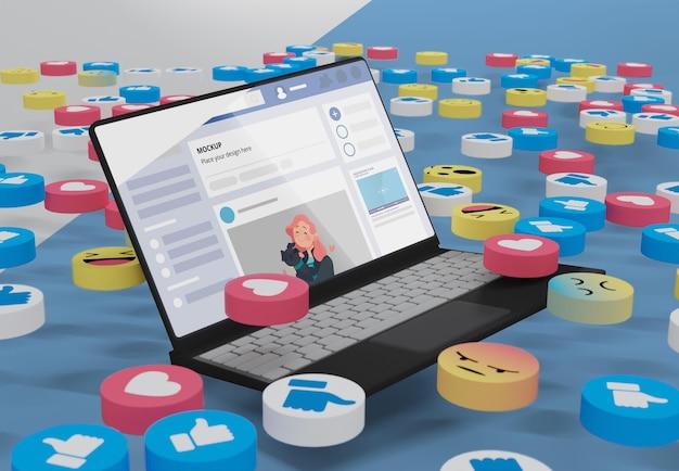 Plateforme de médias sociaux sur appareil de maquette