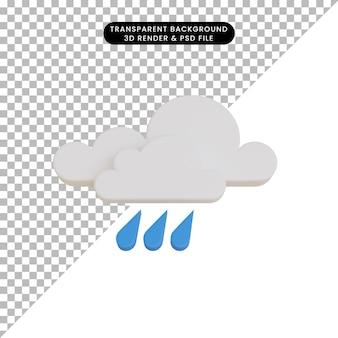 Pluie d'icône météo rendu 3d