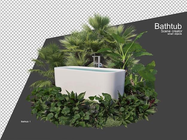 Plusieurs plantes autour de la baignoire dans le jardin