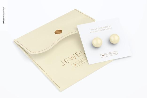 Pochette à bijoux avec maquette de bouton