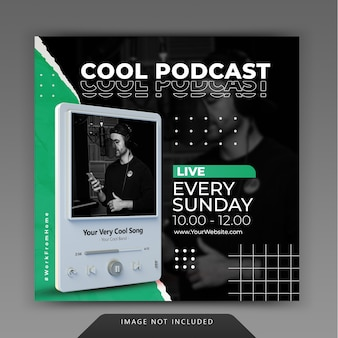 Podcast de diffusion en direct instagram post modèle de publication de médias sociaux