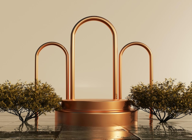 Podium 3d avec anneaux dorés et eau liquide avec maquette de plante pour la présentation du produit