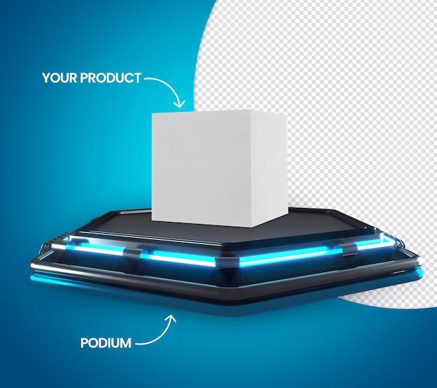 Podium 3d avec bleu néon pour placer des produits black friday sans fond
