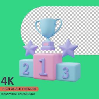 Podium 3d évaluation de l'icône de validation illustration rendu de haute qualité