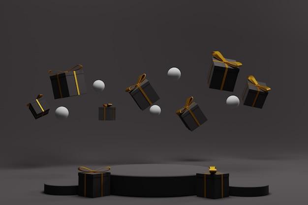 Podium 3d pour affichage de noël avec coffret cadeau