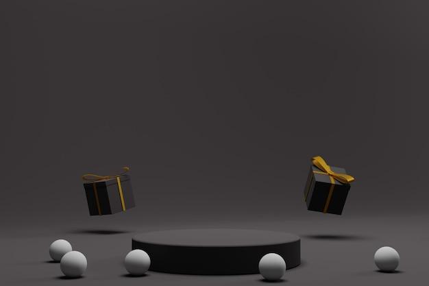 Podium 3d pour le fond d'affichage de noël