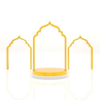 Podium 3d avec rendu réaliste d'ornement de mosquée