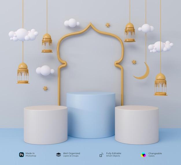 Podium 3d symboles réalistes du ramadhan islamique arabe kareem et eid mubarak