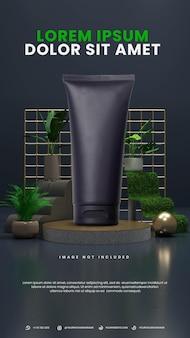 Podium abstrait élégant de nature sombre avec une plante tropicale