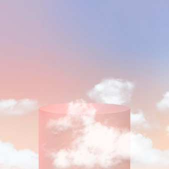 Podium d'affichage du produit 3d psd avec des nuages sur fond pastel