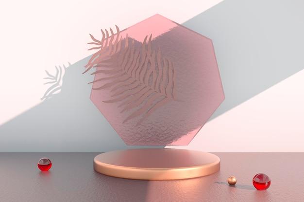 Podium d'affichage du produit décoré de feuilles sur fond pastel, illustration 3d