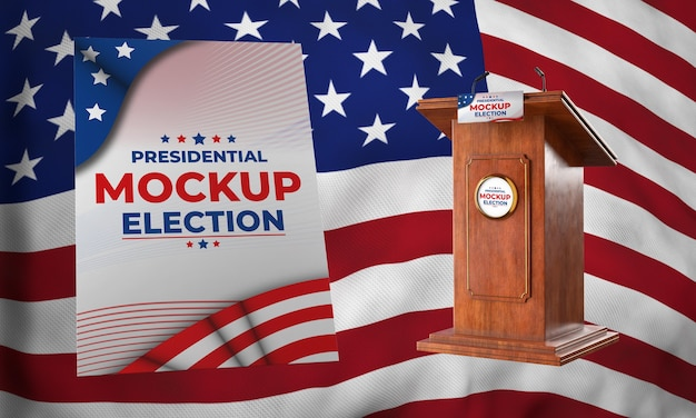 Podium et affiche de l'élection présidentielle pour les états-unis
