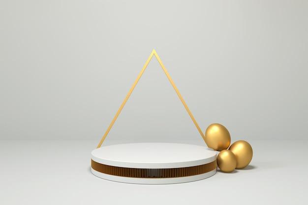 Podium blanc avec des oeufs d'or pour le rendu 3d de placement de produit
