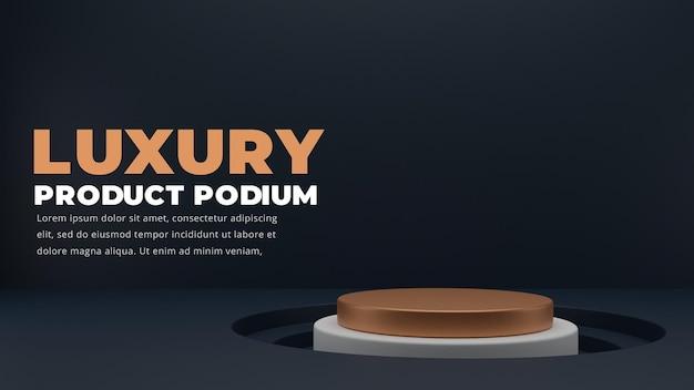 Podium bleu foncé de luxe, rendu 3d