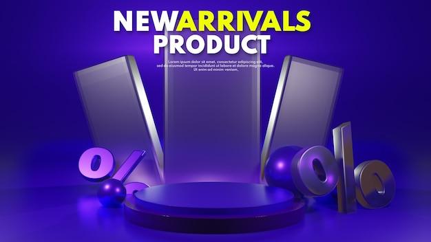 Podium bleu de rendu 3d moderne et propre pour le placement de présentation de produit