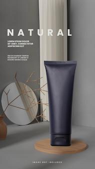 Podium en bois naturel aléatoire abstrait gris