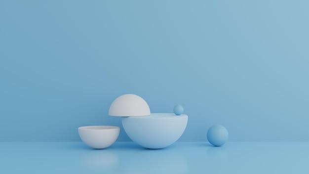 Podium de couleur bleue de forme de géométrie abstraite dans le rendu 3d