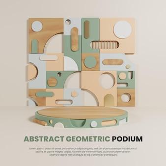 Podium de couleur pastel avec motif géométrique abstrait