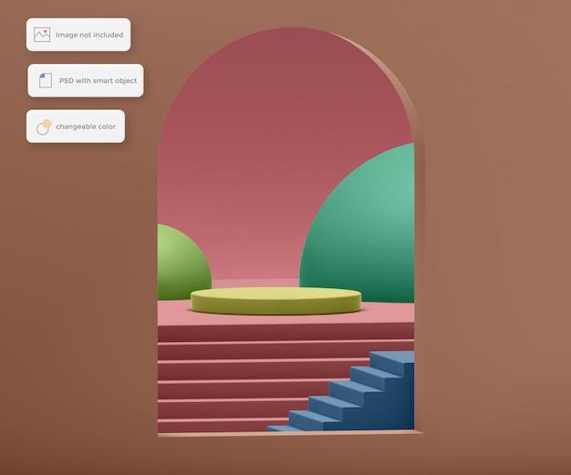 Podium dans les escaliers à l'intérieur du placement du produit du cadre