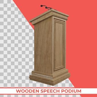 Podium de discours en bois avec trois petits microphones attachés sur un rendu 3d isolé