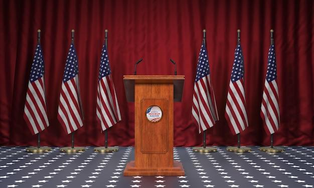 Podium de l'élection présidentielle maquette pour les états-unis avec des drapeaux
