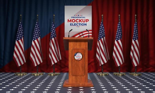 Podium électoral aux états-unis avec des drapeaux