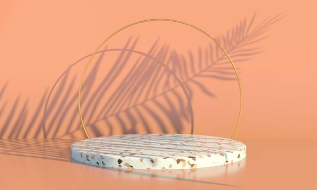 Podium avec des feuilles de palmier sur fond pastel. vitrine de scène conceptuelle pour la promotion du produit.
