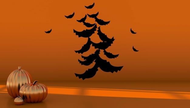 Podium et fond abstrait minimal pour halloween, forme géométrique de rendu 3d. illustration 3d.