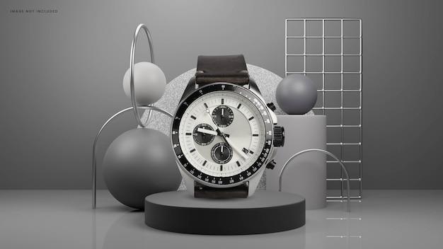 Podium gris abstrait avec fond de marbre