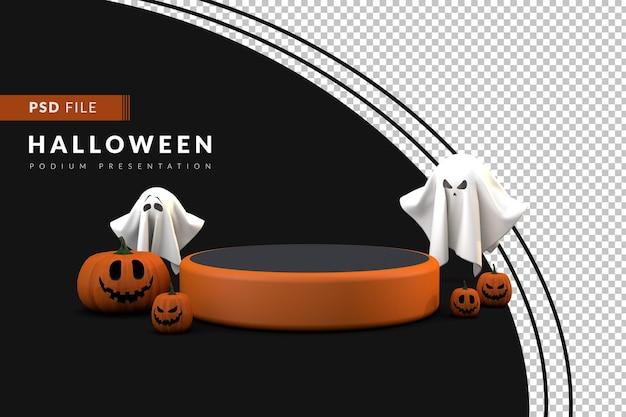 Podium d'halloween 3d avec fantôme et citrouille