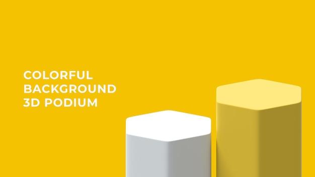 Podium hexagonal 3d avec fond coloré
