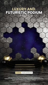 Podium hexagonal luxe et futuriste avec ciel nuit