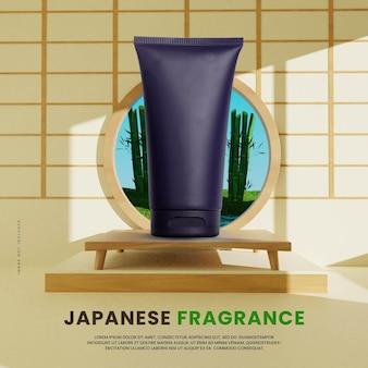 Podium intérieur japonais 3d avec fond de jardin