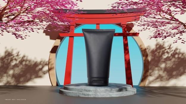 Podium japonais en pierre avec arbre et porte torii