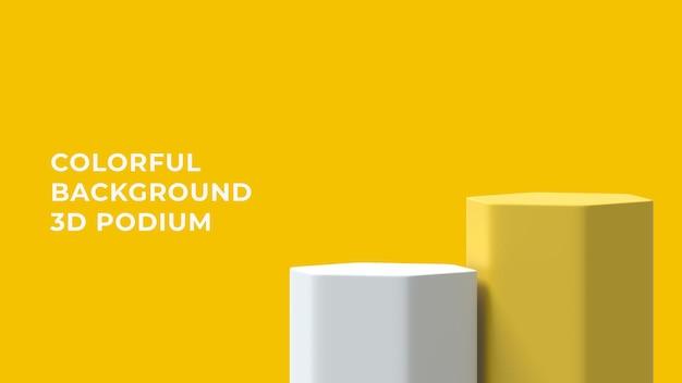 Podium jaune blanc hexagonal 3d avec fond coloré