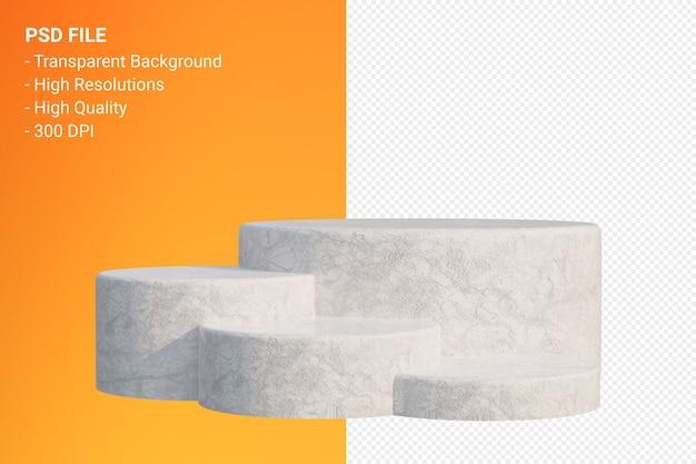 Podium en marbre blanc minimal isolé pour la présentation des produits cosmétiques